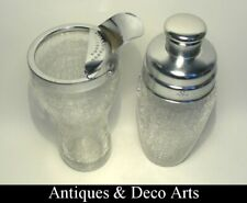 Vintage Stainless Steel & Craqueled Glass Cocktail Shaker + Shaker/Mixer