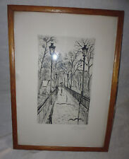 ancienne gravure eau forte pont signé Armand Fayein Chabanon 2e moitie XXe