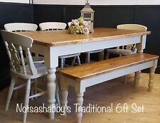 6ft Pine Dining table, farmhouse Chairs and Bench Handmade In Farrow & Ball