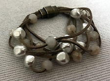 MODE Multi IMITATION PEARL Layer Leather lace BRACELET Magnetic clasp B141