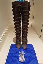 Scarpe ulyana 105 Overknee grigio pelle sintetica scamosciata Tagliato Misura UK 40 7 bntw