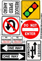 SCALELIKE INDUSTRIES G-ROADWAY SIGNS 1 (GRS-1) PRINTED ON PLASTIC FACTORY NEW