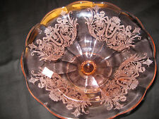 Paden City Glass CUPID Pink ftd flared bowl  Excellent  SALE