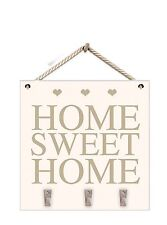 Home Sweet Home Rustic White Wood Hanging Plaque Sign With Hooks With Key Hanger