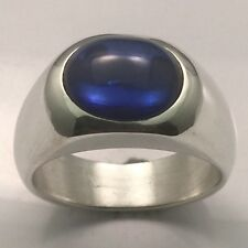 MJG STERLING SILVER MEN'S RING.12 X 10mm OVAL BLUE LAB SAPPHIRE CAB. SIZE 10