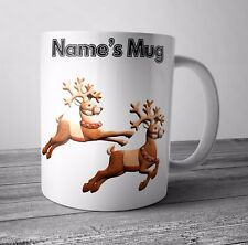 Personalised Mug / Cup - Reindeers - Christmas Gift / Secret Santa  - Any NAME