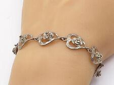 925 Sterling Silver - Vintage Floral Love Heart Link Chain Bracelet - B7857
