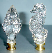 Waterford Seahorse & Acorn Lamp Finial Set of 2 Crystal with Brass Base New