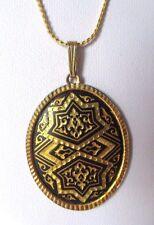 collier pendentif ancien bijou vintage ovale or de Tolède gravé relief 3463