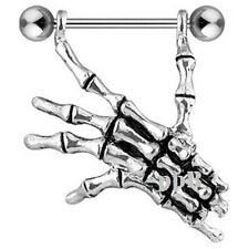 """Right Skeleton Hand 316L Surgical Steel Barbell Nipple Shield 14G ~ 3/4"""" (19mm)"""