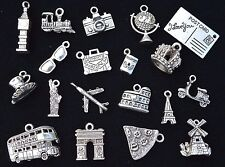 20pcs TRAVEL THE WORLD CHARM SET, size 14mm to 28mm, Antiqued Tibetan Silver