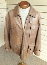 Men's Brooks Brothers Brown Tan Leather Jacket Size XL /2XL 3/4 Length Full Zipp