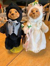 Robert Raikes Plush Wood Carved Bears Bob & Carol Bride Groom Wedding Set