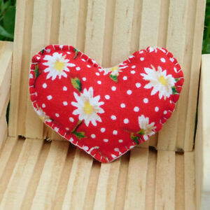 Red Daisy Heart Pillow - Blythe Barbie 1:6 Scale - Fashion Doll Sized Decor