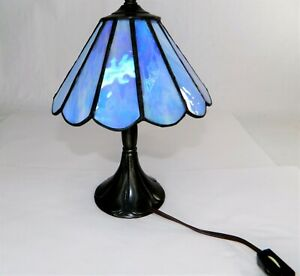 """Mission Tiffany Style Stained Glass Table Desk Lamp 10"""" Iridescent Sky Blue Hues"""