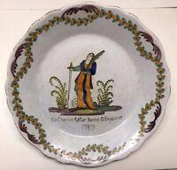 Ancienne assiette en faïence de Nevers 18ème ou 19ème? Catherine Tétar 1789