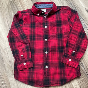 Dressed Up by Gymboree Red & Black Plaid Shirt Small