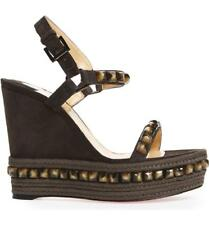NIB Christian Louboutin Cataclou 120 Grey Suede Stud Wedge Sandal Heel 38 $795