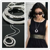 Women Crystal Rhinestone Double Circle Pendant Necklace Long Chain Jewelry Gift