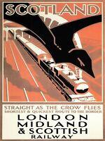 TRAVEL RAILWAY TRAIN SCOTLAND LMSR LONDON UK VINTAGE ADVERTISING POSTER 2489PYLV