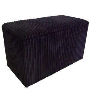 Ottoman / Toy Box / Hide Away Storage Solution - Black Jumbo Cord