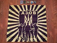 """FLAG  + 5 PATCHES POLICE UKRAINE """"AZOV"""" Nationalist antiterrorist War! ORIGINAL"""