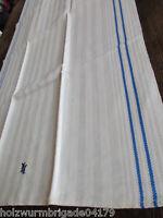 schönes altes Leinen Geschirrtuch Handtuch Tischläufer blaue Streífen Mono (212