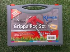 """20 GRIPPA PEG & PULLER SET tent pegs camping extractor carry case box 8"""" 20cm"""