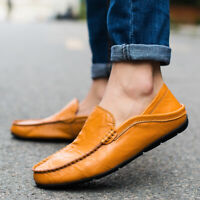 Big Size47 Men's Flat Slip on Leather Loafers Casual Lazy Driving Moccasin Shoes