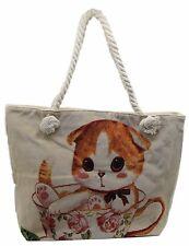 Rope Handle Beach Bag Beige Canvas Cat Tote Reusable Rope Handles Shopper