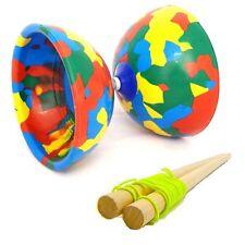 Multicoloured Jester Diabolo & Wooden Sticks - Medium Rubber Diablo with Sticks