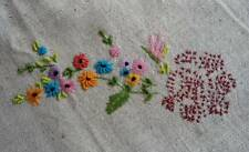 """Vintage Tablecloth Raised Hand Embroidered Wild Flowers Pink Blue Hemstitch 29"""""""