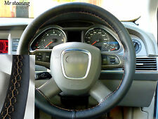 FOR AUDI A4 B7 REAL BLACK LEATHER STEERING WHEEL COVER 2005-2008 BEIGE STITCH