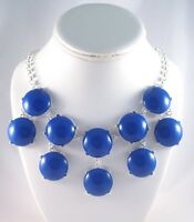 "New Bubble Statement Necklace With Large 1"" Diameter Cobalt Blue Stones #N2306"