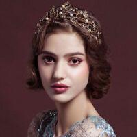 Vintage Bronze Leaves Pearls Style Wedding Party Bridal Crown Bride Hair Tiara