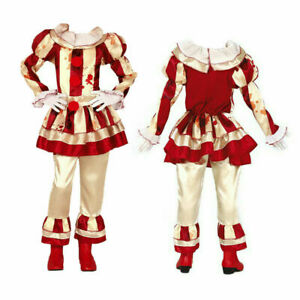 Kids Halloween Circus Horror Costume Striped Killer Clown Girls Fancy Dress