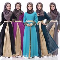 Muslim Women Long Sleeve Maxi Dress Jilbab Robe Islamic Cocktail Kaftan Abaya