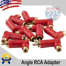 10 Pack Gold-Plated RCA Long Right Angle Adapters Male to Female 90° Angle USA