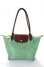 Longchamp Solid Print Collapsable Mini Tote Bag Purse Light Green Small