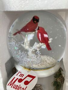 Snow Globe Musical Christmas Red Cardinals New We Wish You a Merry Christmas