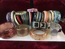 Huge lot of 30 Pcs of Vintage and Modern Bangles/Bracelets Stretch Plastic Metal