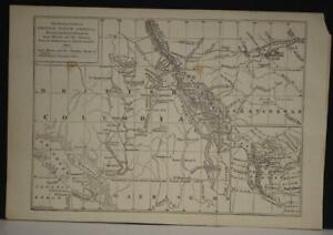 BRITISH COLOMBIA SASKATCHEWAN CANADA 1867 JOHN DOWER ANTIQUE LITHOGRAPHIC MAP