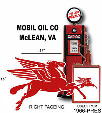 """(MOBI-3) 24"""" MOBIL RIGHT FACING PEGASUS GASOLINE GAS PUMP OIL TANK DECAL"""