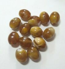 Flat Oval Vintage Amber Swirl Bead X 13