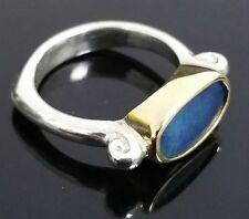 Custom 18K Yellow Gold & 925 Sterling Silver Australian Black Boulder Opal Ring