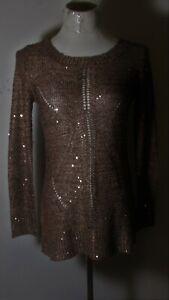 Women's BELLDINI Golden Brown Sequin Beaded Top Size S