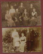 Family outdoors group vintage postcards    RP pc Q1595