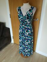 Ladies BM Dress Size 12 Long Maxi Stretch Blue Green Smart Casual Day