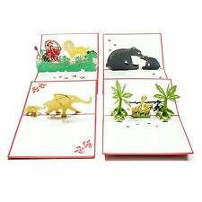 3D Jungle Animal Pop Up Birthday Gift Greeting Cards for Kids. (4 Pack)