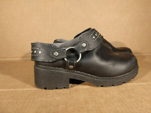 Harley Davidson After Riding Women's 7 M Black Leather Harness Mules Shoes Studs